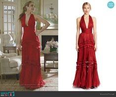 Fallon's red ruffled halter gown on Dynasty. Outfit Details: https://wornontv.net/100759/ #Dynasty