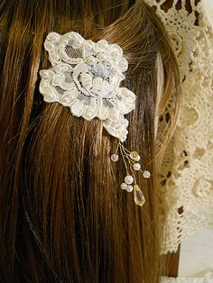 Two Piece Vintage Wedding Lace Bobby Pins handmade by PapernLace, $9.50