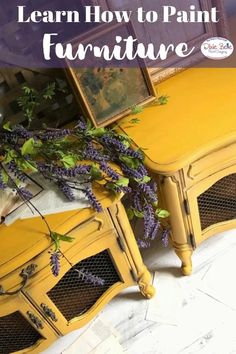 Refurbished Furniture, Repurposed Furniture, Furniture Makeover, Vintage Furniture, Diy Furniture, Yellow Painted Furniture, Chalk Paint Furniture, Colorful Furniture, Distressing Painted Wood