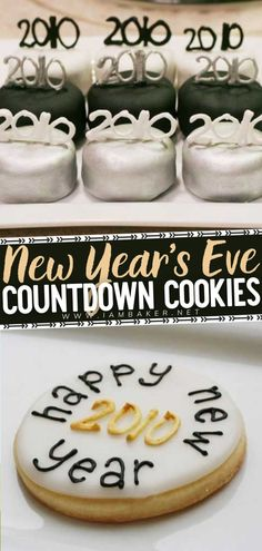 These New Years Eve Countdown Cookies are the PERFECT way to bring in the new year! You can munch on this New Year party desserts while waiting for the clock to strike 12. This creative and fun… More New Years Eve Food, New Years Party, Party Desserts, No Bake Desserts, Baking Desserts, Good Food, Yummy Food, Delicious Recipes, New Year's Eve Countdown