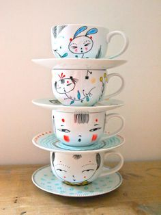 RESERVED LISTING for Kim Cole  3 x cups and saucers