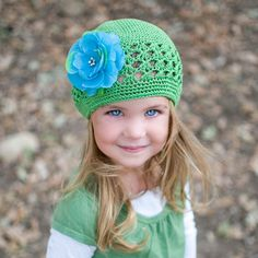 Green Beanie with Blue Flower