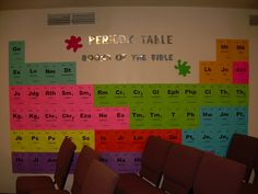 So want to do this for the main hallway or somewhere! What LOOKS like the Periodic Table of the Elements, is actually the books of the Bible - in order! I love that, and can totally see this on the wall in the main hallway! Sunday School Rooms, Sunday School Classroom, Sunday School Lessons, Sunday School Crafts, Classroom Ideas, Sunday School Decorations, Church Decorations, Table Decorations, Church Bulletin Boards