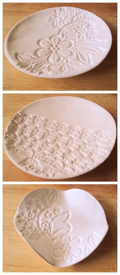 DIY lace plates/bowls with modelling clay