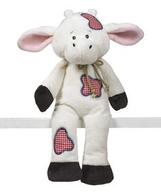 Take a look at this White & Red Patchwork Rodeo Cow Plush Toy by GANZ on #zulily today!8