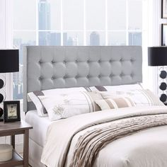Features:  -Elegant tufted button.  -Fits queen size beds.  -Deep inset buttons.  -Fine linen upholstering.  -Fiberboard and solid wood frame.  -Compatible with any standard metal bed frame.  Finish: