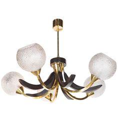 Mid-Century Modernist Five Globe Chandelier in Brass and Ebonized Walnut