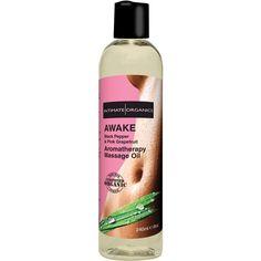 Awake Aromatherapy Massage Oil - Black Pepper and Pink Grapefruit - 8 oz. Funtimes209