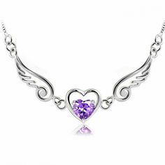 Angel Lover Wing Heart Silver Necklace for only $23.90 ,cheap Fashion Necklaces - Jewelry&Accessories online shopping,Angel Lover Wing Heart Silver Necklace is a unusual gift for her! It is so romantic gift! http://shop.artisansilvergifts.com/products/gift-card