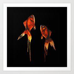 free fishes - black Art Print by Ninamelusina - $17.00