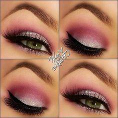 Eye Makeup Glitter, Pink Eye Makeup Looks, Dramatic Eye Makeup, Dramatic Eyes, Pink Eyeshadow, Pink Makeup, Eye Makeup Tips, Smokey Eye Makeup, Love Makeup