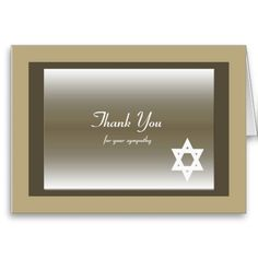 This classic Jewish Sympathy Thank You Note Card features a Star of David. Sympathy Thank You Notes, Funeral Thank You Notes, Thank You Greeting Cards, Thank You Note Cards, Custom Thank You Cards, Thank You Card Template, Smudging, Paper Texture, Classic