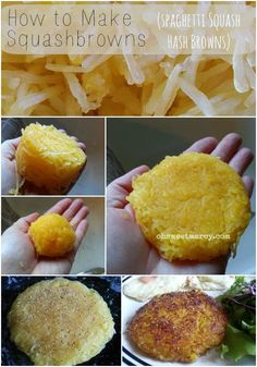 My husband loves hash browns & I love him enough I want him eating healthy. One new food at a time thats how you do it Squashbrowns! Spaghetti Squash Hash Browns make a delicious low-carb addition to breakfast. Menu Paleo, Paleo Recipes, Low Carb Recipes, Whole Food Recipes, Cooking Recipes, Budget Recipes, Low Carb Breakfast, Breakfast Recipes, Breakfast Casserole