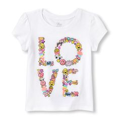 s Toddler Short Sleeve Emoji 'Love' Glitter Graphic Tee - White T-Shirt - The Children's Place