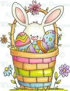 Bunny in Basket - Easter - Holidays - Rubber Stamps - Shop