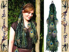 Peacock Feather Elf Emerald Fairy YARN HAIR by MagicTribalHair, €39.00