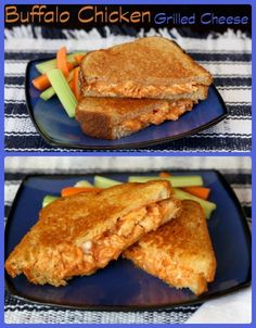 Buffalo Chicken Grilled Cheese - combine two classics, chicken wings and a grilled cheese sandwich, into one spicy comfort food! | cupcakesandkalechips.com | gluten free option