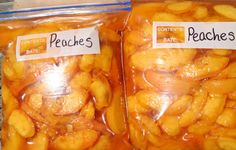 A few more steps, but may be better for freezing peaches (this site also has other canning/freezing tips) Frozen Meals, Frozen Fruit, Healthy Snacks, Healthy Recipes, Lunch Recipes, Yummy Recipes, Canning Peaches, Canned Food Storage, Freezer Cooking