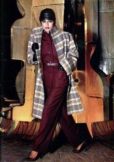 Christian Dior - L'Officiel magazine 1978 pantsuit jacket pants matching outfit red burgundy wool belt plaid jacket black white late 70s era vintage fashion style model magazine