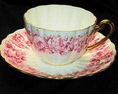 SHELLEY PINK ROSES GOLD LUDLOW  TEA CUP AND SAUCER