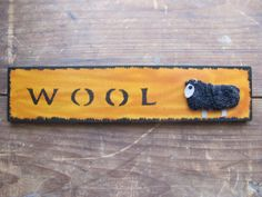 Woolly Sheep Primitive Plank on Etsy from By The Bay