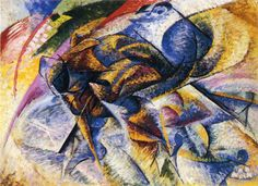 Dynamism of a Cyclist, Umberto Boccioni, 1913.      Yet another great painting from Boccioni, using dynamic form/structure/composition and color.