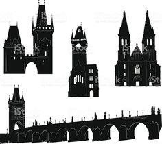 Prague silhoutte royalty-free stock vector art