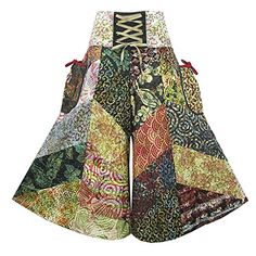 Coconutwoww Women's Patchwork Tie Waist Pocket-Side Wide Leg Gaucho Capris Pants