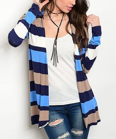 This Navy & Tan Stripe Open Cardigan by Shop the Trends is perfect! #zulilyfinds
