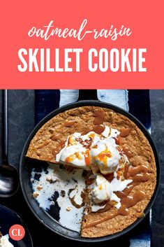 There's a secret hiding in this decadent, oatmeal-raising skillet cookie. We've enriched caramel sauce with miso, for an extra-indulgent treat that still slashes calories and sugar. Cooking Light Recipes, Skillet Cookie, Oatmeal Raisin Cookies, Cast Iron Cooking, Sweet Life, Recipe Of The Day, Cookie Monster, Sweet Stuff, Cookie Recipes