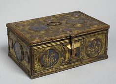 Box with Enamel Plaques Date: first half 14th century Geography: Made in probably Vienna, Austria Culture: Austrian Medium: copper gilt, enamel Dimensions: Overall: Length: 7 3/4 x Width: 5 1/8 x Depth: 3 3/16 in. (19.7 x 13 x 8.1 cm) Classification: Metalwork Credit Line: The Cloisters Collection