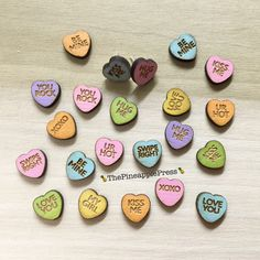 Laser cut and engraved wood conversation heart earrings, valentine's day, love, jewelry, cute wooden studs by ThePineapplePress on Etsy https://www.etsy.com/listing/263522790/laser-cut-and-engraved-wood-conversation