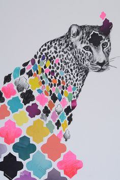 Australian modern artist Emma Gale mixes textures of crayons, pencils, feathers and fabric trim to create vibrant, rich, colourful and mesmerising collages. #Art