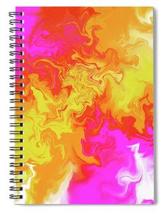 """This x spiral notebook features the artwork """"Pouring Fluid Art 156 - Fusion and harmony of colors"""" by Daniel Ghioldi on the cover and includes 120 lined pages for your notes and greatest thoughts. Spiral Notebook Covers, Spiral Notebooks, Notebooks For Sale, Color Mix, Painting Techniques, Pink Yellow, Fine Art America, Invite, Flow"""
