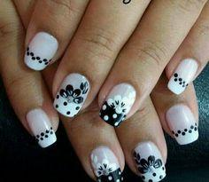 Square Nail Designs, French Nail Designs, Short Nail Designs, Acrylic Nail Designs, Nail Art Designs, Funky Nail Art, Dot Nail Art, Funky Nails, Easy Nail Art