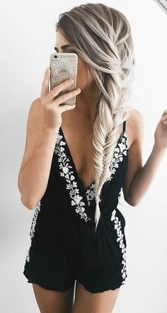#summer #trends #outfits |  Black and White Floral Detail Romper