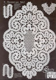 Oval tablecloth crocheted from strips
