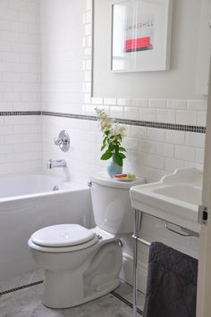 My 1950's style bathroom: white subway tile, marble mosaic floor, console vanity. From Inspiration for Decor.