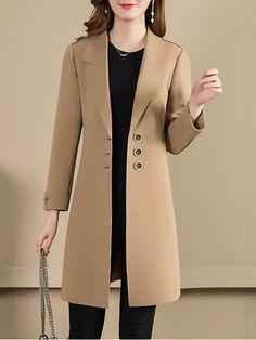 Notch Lapel Plain Trench Coat , Buy Affordable And Fashionable Women's clothing Online. Buy Shoes, Bags, Dresses Etc. Coat Outfit, Coat Dress, Mode Mantel, Dresses Elegant, Stylish Dresses, Coats For Women, Clothes For Women, Trench Coat Style, Plaid Coat