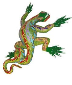 Alebrije, Lizard. Made of wood and hand painted by Joaquin Hernandez Vasquez, made in Tilcajete, Oaxaca, Mexico.