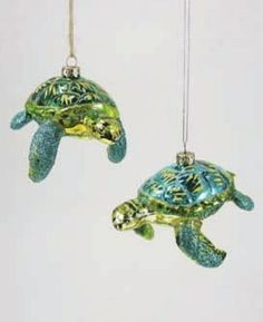 Celebrate your seaside Christmas with this pair of Glitter Turtle Ornaments. - Glass & glitter 2 Assorted - 4.5l x 2.5h - Imported