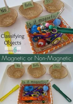 Sorting and Exploring Materials – Magnets Science fun exploring materials. Is it magnetic or not? Montessori Science, Primary Science, Preschool Science, Science Experiments Kids, Physical Science, Preschool Classroom, Teaching Science, Science For Kids, Science And Nature