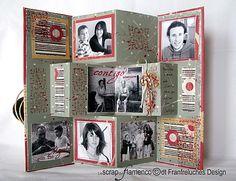 Mini-Album accordéon Pop-Up Scrapbooking Mini Album, 12x12 Scrapbook, Vintage Scrapbook, Mini Album Scrap, Mini Albums, Fancy Fold Cards, Folded Cards, Album Photo, Album Book