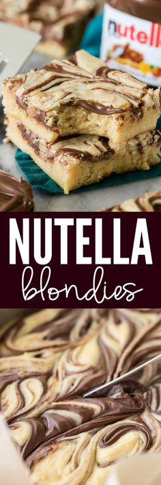 Soft and chewy Nutella blondies are made with a buttery cookie base and topped off with ribbons of rich Nutella swirls! These cookie bars are so easy to make, and everyone who tries them is going to want the recipe!
