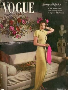 1941 Vogue cover-- I have a 1940's mustard full length dress a LOT like this. Now I know what I'm wearing with it!!!!!!!!