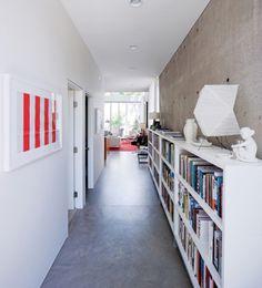 bookcase in corridor