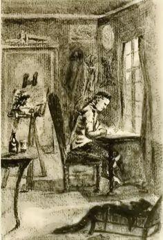 Goethe zittend aan zijn schrijftafel, een tekening van Goethe uit 1770