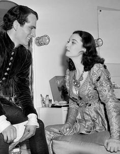 Vivien Leigh and Laurence Olivier behind the scenes of Romeo and Juliet, 1940.