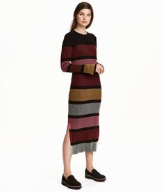 Check this out! Long, fitted, rib-knit dress in a cotton blend with long sleeves. Slits at sides. - Visit hm.com to see more.