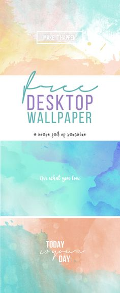 FREE desktop wallpaper - three gorgeous watercolour designs available for instant download! Give your work area an instant refresh. | A house full of sunshine
